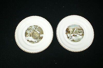 """Vintage Winter Scene Currier and Ives Plates by Harkerware Set of Two 6.5"""""""