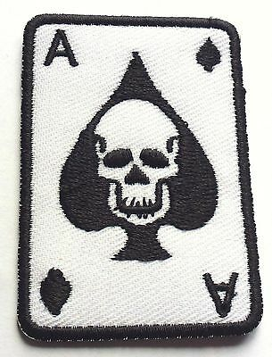 ACE OF SPADES SKULL CASINO - SEW OR IRON ON BIKER MOTORCYCLE PATCH 40mm x 60mm
