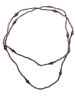 Ladies Rustic Navy Wooden Beaded Hippy //buddhist Free Spirit Necklace Zx67