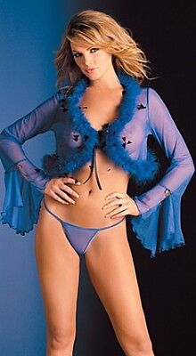 Sheer Beautiful Blue Feather Marabou Long Sleeved Wrap Top S M L