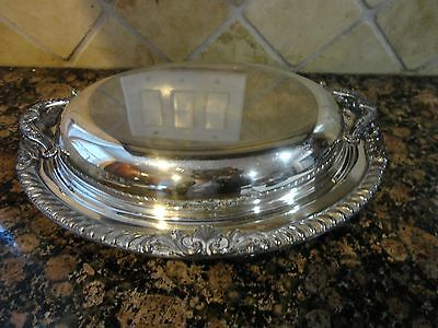 Vintage Epc Bristol Silver 24 Silver Plated 2 Pc Covered Vegetable Dish W Handle