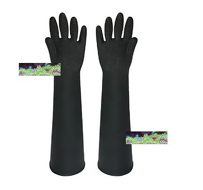 Marine Aquarium Safe 60cm Long Latex Gloves Live Rock Fish Coral Handling Pond