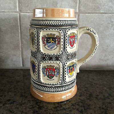 Vintage Coat Of Arms German Ceramic Beer Stein Mug