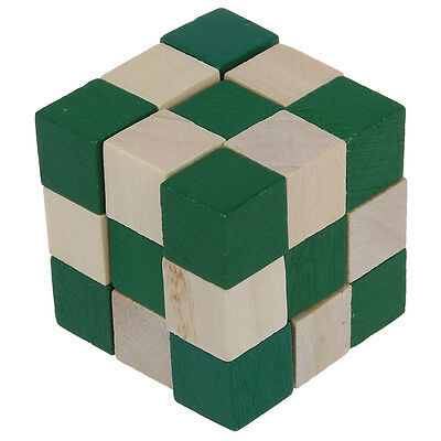 Cube Snake Puzzle Magic 3D Wooden Toy Game Kids Baby Children Twist Gift AD
