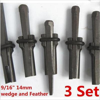 "9/16"" Plug Wedge & Feather Shim Concrete Rock Stone Splitter Hand Tool 3 set XT"