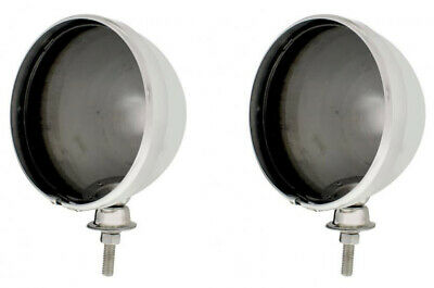 "Pair Dietz 7"" Chrome Street Rod Head Light Lamp Buckets Assembly Wired Bullet"