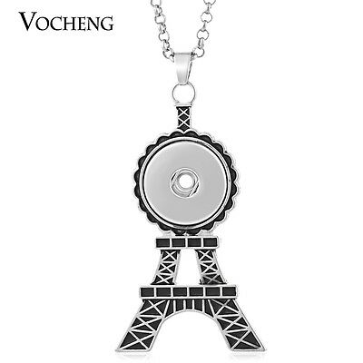 10pcs/lot Snap Pendant Eiffel Tower Necklace Stainless Steel Chain NN-405*10