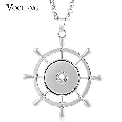 10pcs/lot Vocheng Snap Jewelry Rudder Necklace Stainless Steel Chain NN-406*10