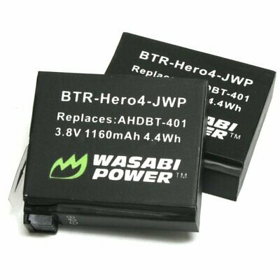 Wasabi Power Batteries x2 for GoPro HERO4 - 1160mAh (Replaces AHDBT-401 Battery)