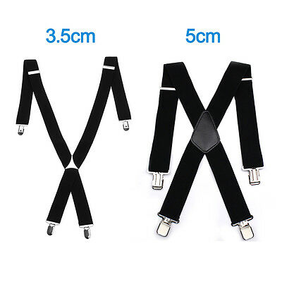 Adjustable Braces Mens Womens Unisex Trouser Elastic X-Back Suspenders Clipon