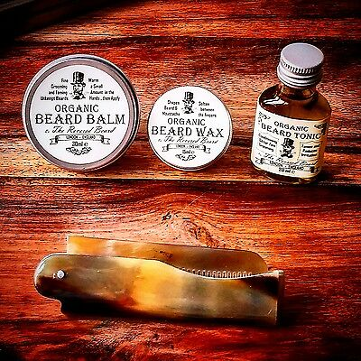 Organic Beard Oil, Beard Balm, Wax, Ox Horn Comb, Starter Kit by Revered Beard.