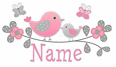 Iron on Transfer PERSONALISED BIRD FLOWER BUTTERFLY CUTE PINK (any name) 15x8cm