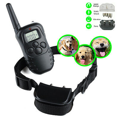 300M Electronic Shock Vibra LCD Display Remote Control Pet Dog Training Collar