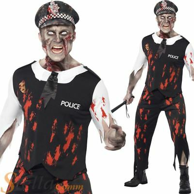 Mens Zombie Policeman Costume Police Officer Halloween Horror Fancy Dress Outfit