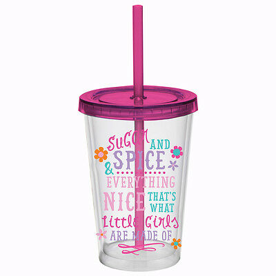 Slant Collection 10 oz DW Cup Sugar and Spice Pink Kids with Lid and Straw