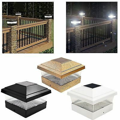 Solar Led Garden Post Deck Cap Square Outdoor Fence Lights White/Black/Bronze
