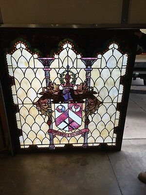 Sg 9 Large Antique Stained Glass Landing Window Many Jewels And Crest