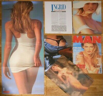 INGRID SEYNHAEVE Man 1993 cover & sexy article poster Belgian model clippings