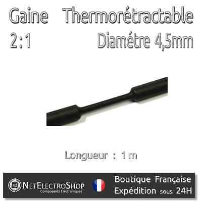 Gaine Thermo Rétractable 2:1 - Diam. 4,5 mm - Noir - 1m