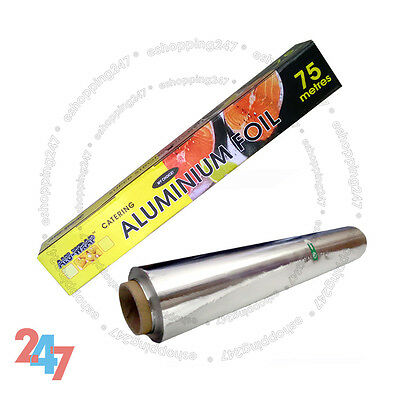 New Aluminium Kitchen Catering Foil Tin Food GRADE Baking Oven Wrap 450mm X 75m