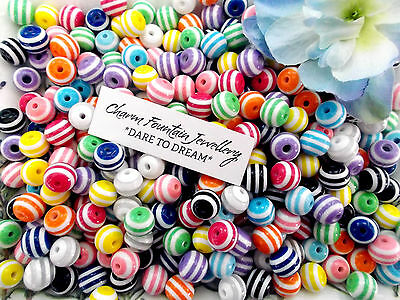 JEWELLERY WHOLESALE BULK FINDINGS MAKING SPACER BEADS ACRYLIC STRIPED 10mm (MW38