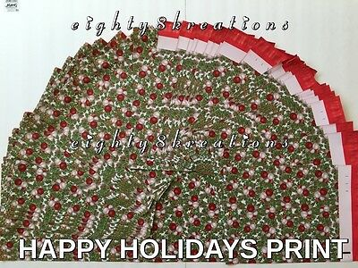 10 CHRISTMAS PRINT 10x13 Flat Poly Mailers Shipping Postal Pack Envelopes Bags