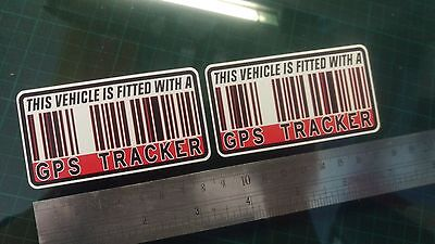 This Vehicle Is Fitted with GPS Tracker Stickers Decal x2 Car Bike Scooter Quad