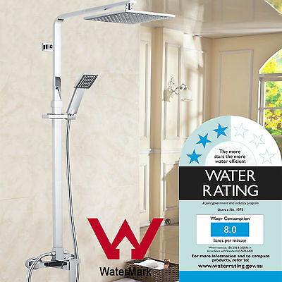 """Budget Square Shower Set Abs Head 8"""" Hand Rail Combination Mixer Inculded"""