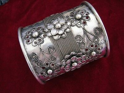 National characteristics Handmade Miao Silver  Big Wide mouth Bracelet W302