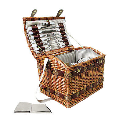4 Person Picnic Basket Set  W/ Cheese Board & Large Blanket Brown/Blue