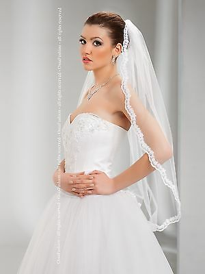 "1T White/Ivory Wedding Prom Bridal Fingertip Veil With Comb 36""- Lace Finish"