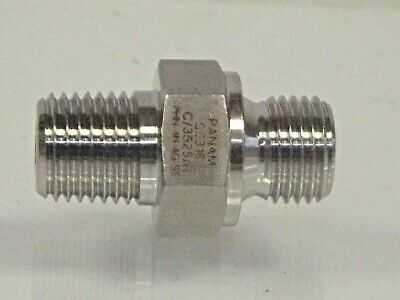 "1/4 NPT Male to 1/4"" BSP Male 316 Hydraulic Stainless Steel Nipple 4,000 PSI"