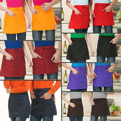 Hot Half-length Short Waist Solid Apron With Pocket Catering Chefs Waiters Apron