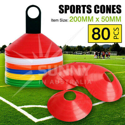 80 Disc Markers Training Cones Football Soccer Rugby Afl Touch Group Fitness New