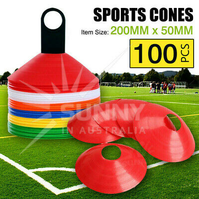 100 Disc Markers Training Cones Football Soccer Rugby Afl Touch Group Fitness Au