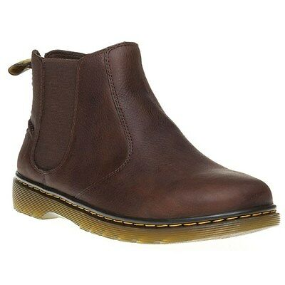 New Mens Dr. Martens Brown Lyme Leather Boots Chelsea Pull On