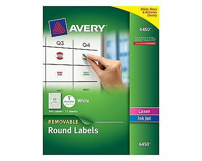 Avery Removable Round Labels, 1-Inch Diameter, White, Pack of 945 (6450) NEW