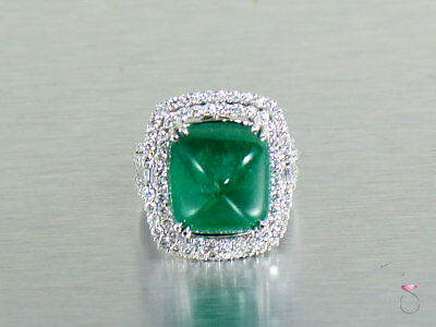 Magnificent 17 ct. Colombian Emerald Diamond Ring in 18K Gold GIA Certified.