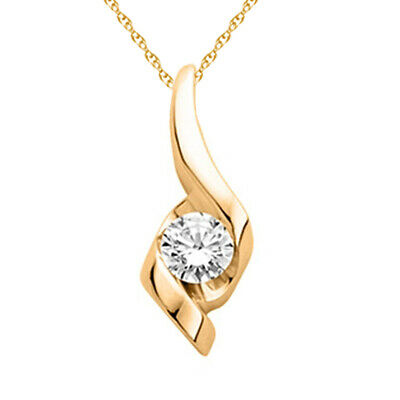 1/20 ct Natural Diamond Solitaire Pendant in 14K Yellow Gold