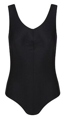 Tank Black cotton Ruched Front Sleeveless Leotard (Brand New)