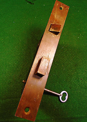 LARGE 1873 MALLORY & WHEELER (M & W) DOOR MORTISE LOCK w/KEY - VERY NICE  (5303)