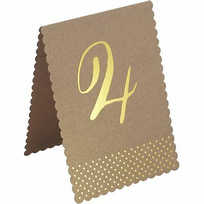 Ginger Ray Kraft Perfection Gold Foiled Vintage Wedding Decoration Table Numbers