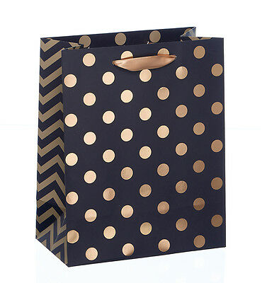 Gift Bag -Black With Gold Foil Spots -Small - Birthdays -Fathers Day For Him