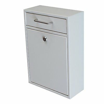 Mail Boss Epoch Design 7410 Locking Security Drop Box Wall Mounted Mailbox White