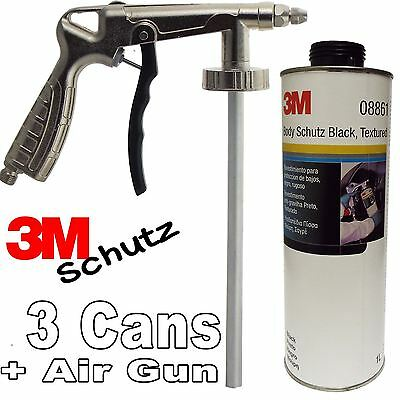 3 x 3M Car Body Schutz Black Vehicle Underseal 1lt 08861 + Underbody Coating Gun