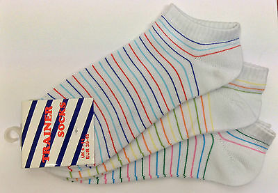 6 Pairs Mens Boys Trainer Ankle Socks Short Striped Cotton Rich Sock Size 6-11
