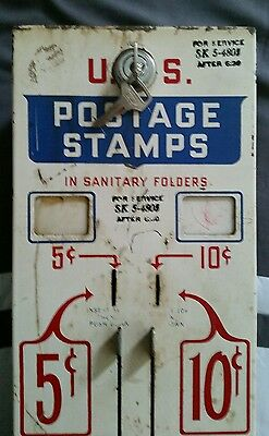 Vintage US Mail USPS Postage Stamp Vending Machine for 5 & 10 Cents w/ lock& key