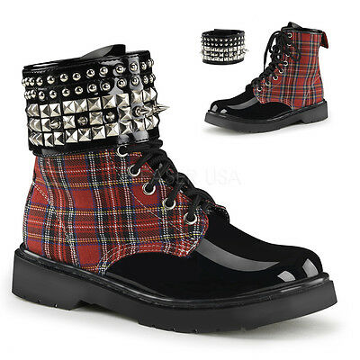 ba8efa3b9a06b SALE DEMONIA Womens Combat Red Plaid Ankle Boots Detachable Spiked Ankle  Band