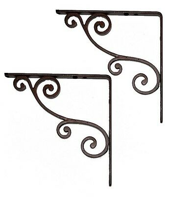 "A Pair of 6"" Shelf Brackets in Black Cast Iron (AB266/6)"