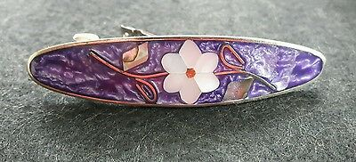 Mauve Enamel Mother of Pearl Abalone Shell Hair Barrette Signed Alpaca Mexico